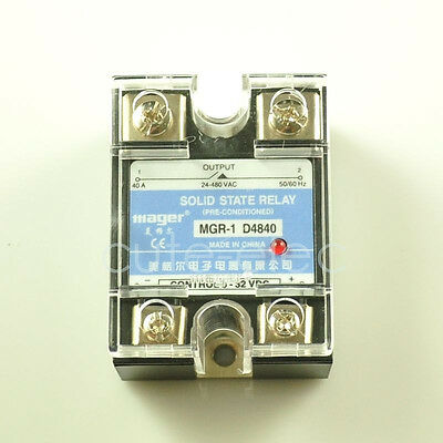 Lot of 10x D4840 SSR Solid State Relay DC-AC 3-32V DC Input ~ 24-480V AC 40A