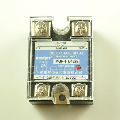 D4825 SSR Solid State Relay DC-AC 3-32V DC Input ~ 24-480V AC 25A