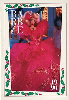 """Barbie Special Collectible Fashion Trading Card  """" Happy Holidays Barbie """" 1990"""