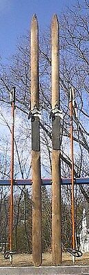 """ANTIQUE PRIMITIVE Set of Wooden 79"""" Long Skis Have POINTED Tips at the Top"""