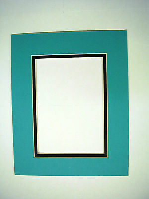 Picture Frame Double Mat 8x10 for 5x7 photo Turquoise Blue with black liner mat