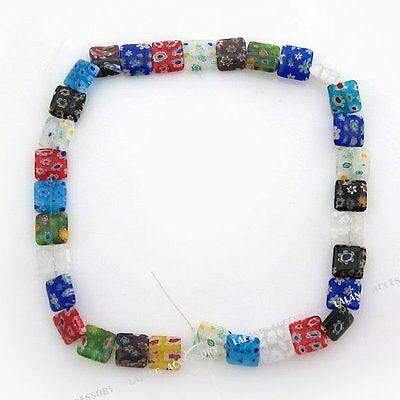 6Strings 110562 Wholesale New Flowers Square Millefiori Beads 12mm