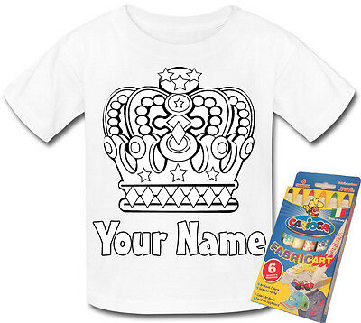 Royal Crown Colour In Your Own Personalised T-Shirt * Fun Activity Gift & Named*