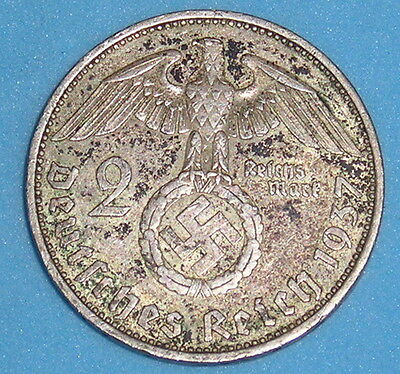 Germany 3Rd Reich Silver 2 Mark Swastika Nazi Issue 1937-39 £6.50 Free Uk P&p (2
