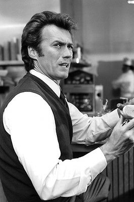 Dirty Harry Clint Eastwood 24X36 B&W Poster Print with hot dog in diner