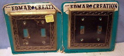 ** Lot of 2 - VINTAGE * EDMAR CREATIONS * BLACK & Gold #1 - OUTLET switch Covers
