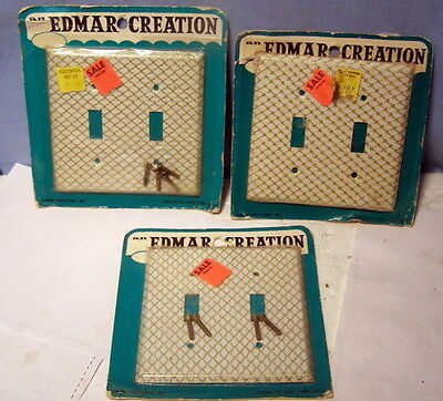 ** Lot of 3 - VINTAGE * EDMAR CREATIONS * WHITE & Gold - OUTLET switch Covers