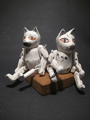 White Kitty Wood Puppet - Rustic Cat Wooden Handcraft / Statue - Set 2 - SALE