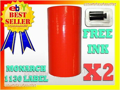 Fluorescent Red Label For Monarch 1130 Pricing Gun 1 Sleeve=8Rolls