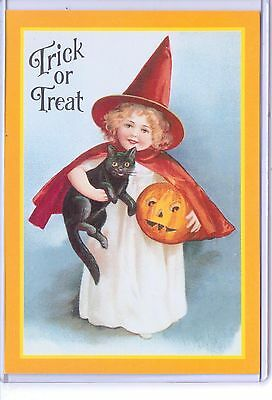 Vintage Reproduction Trick Or Treat Girl Witch Black Cat Pumpkin Repro Postcard