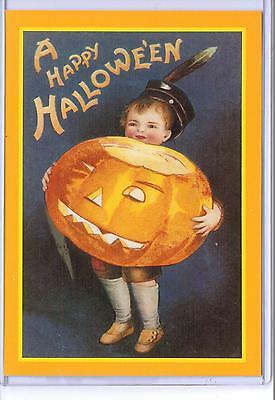 Vintage Reproduction A Happy Halloween Boy With Pumpkin Repro Postcard
