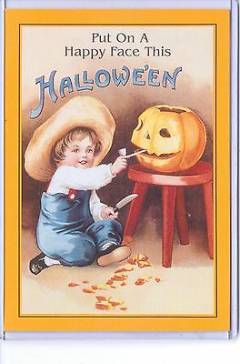 Vintage Reproduction Put On A Happy Face Halloween Boy Pumpkin Repro Postcard