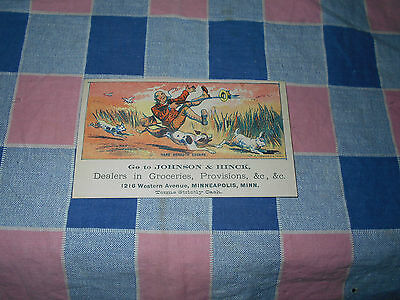 Old Tradecard Johnson Hinck Groceries 1216 Western Ave Minneapolis Hare Breadth