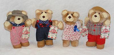 Vintage 1986 FURSKIN Bear Collection ALL 4 Hattie Boone Dudley Farrell with TAG