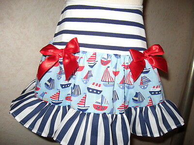 new Girls Blue,Red,white Boats,Stripes  Frilly Gift,Punk,Goth,Party,rock, Skirt
