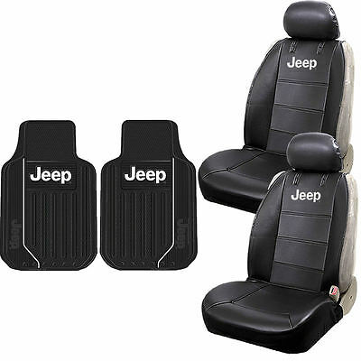 Jeep Synthetic Leather Seat Covers Front Heavy Duty Rubber Floor Mats