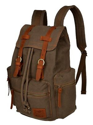 Men Women Vintage Army Green Canvas Backpack Rucksack School Satchel Hiking Bag