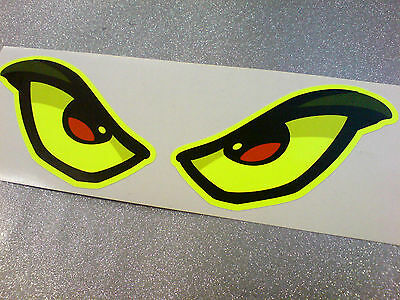 FLUORESCENT EVIL EYES Car Motorcycle Helmet Stickers Decals 1 off Pair 170mm