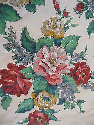 Antique Pure Linen Roses Bouquet Fabric ~ Red Coral Mustard Blue Green ~1930 BTY