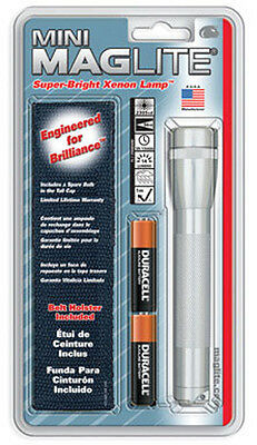 Mini SILVER MagLite w/ holster 2 AA batteries included M2A10H Mag Lite Maglight