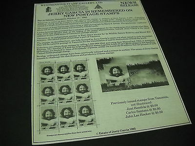 JERRY GARCIA Grateful Dead REMEMBERED ON POSTAGE STAMPS 1995 promo display ad