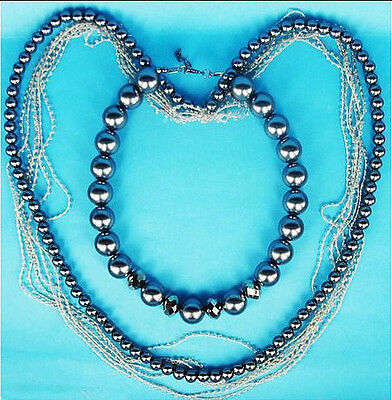 Fashion Mutli Layers Crystal Grey White Pearl Necklace