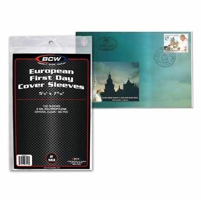 """(100) Count Pack BCW European First Day Cover Sleeves 5 1/8"""" x 7 13/16"""" Poly"""