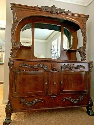"""Antique 1905 Hippach - Chicago 75"""" Tall Curved Wood Buffet Sideboard Furniture"""