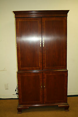 Antique vintage STYLE COUNCILL CRAFTSMAN Mahogany ARMOIRE BOOKCASE TV CABINET