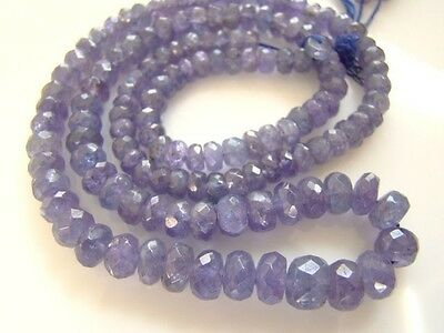 """A++Tanzanite 4/5/6/7mm Faceted Rondelle Gemstone Bead (Select-a-Size) 2""""-16"""" Str"""