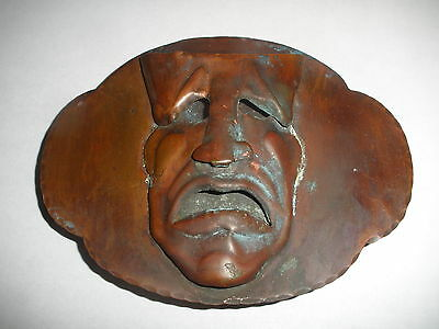 Great Antique Arts And Crafts Copper Theatrical Mask Buckle Plaque Sculpture