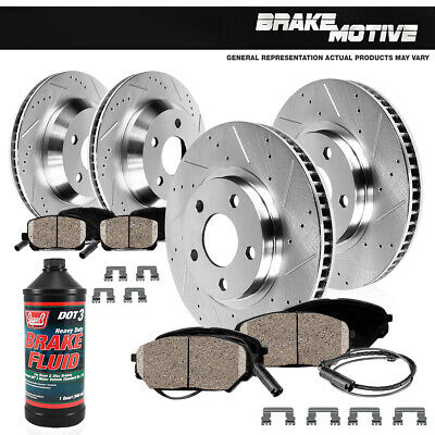 2006 BMW 325i E90 Front + Rear Drilled And Slotted Brake Rotors & Ceramic Pads
