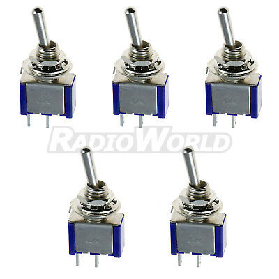 5x Mini ON/OFF Toggle Flick Switch 6A 12V SPST 2 Pin Car Model Train Railway Set