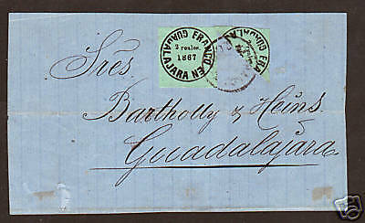 Mexico, Guadalajara Sc 13 & bisect on 1867 cover, Cert