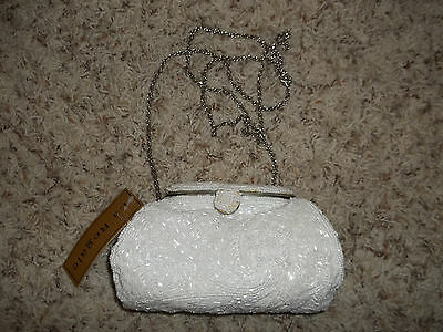 NWT Beautiful Heavily Hand Beaded White Satin Wedding Bridal Clutch LA REGALE