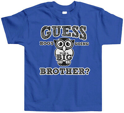 Guess Hoos Going To Be A Big Brother Toddler T-Shirt Tee Owl Announcement