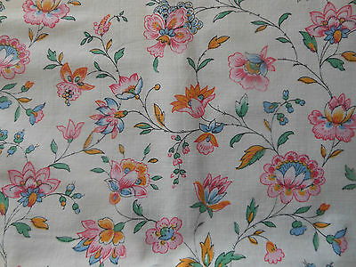Vintage Retro French Faded Indienne Floral Fabric ~ Pink Tangerine Blue