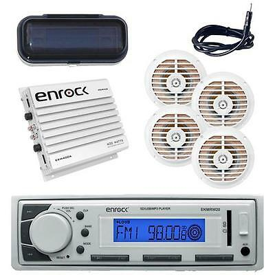 """Enrock Marine In-Dash Player AM/FM USB/AUX +Antenna, Amp, Cover, 5.25"""" Speakers"""