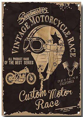 """vintage Motorcycle Race"" High Sheen Finish Metal Sign.22"