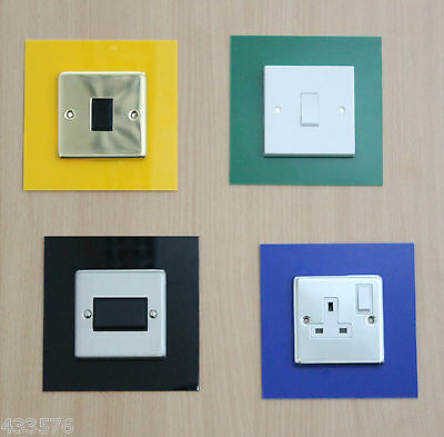 Coloured SINGLE Plug Socket & Light Switch Finger Plate Surrounds Plug Sockets