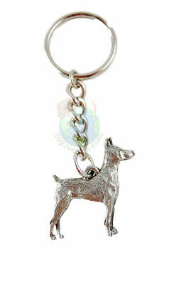Doberman Pinscher Keychain Fine Pewter Silver Key Chain Ring
