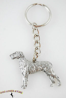 Irish Wolfhound Keychain Fine Pewter Silver Key Chain Ring