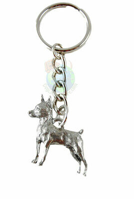 Miniature Pinscher Dog Fine Pewter Silver Keychain Key Chain Ring