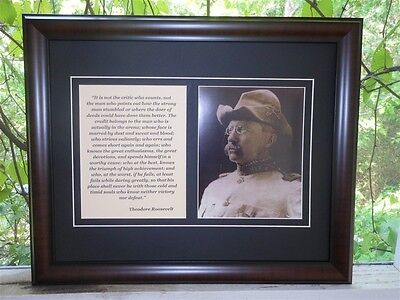 Large Theodore Teddy Roosevelt Photo & Quote Framed