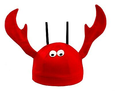 Red Novelty Lobster Crab Crawfish Seafood Felt Hat Costume Accessory Fish Cap