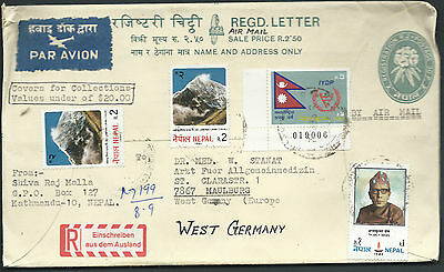 NEPAL 1980's Registered Letter Postal Cover to West Germany     SEE BACK SCAN