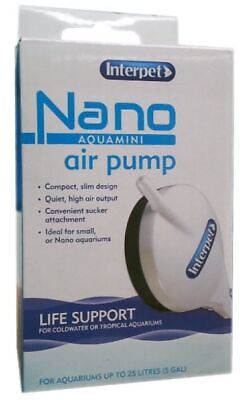 Interpet Nano Air Pump Aqua Mini Compact Slim Fish Tank Airpump Oxygen Bubble