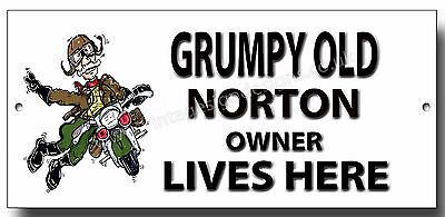 Grumpy Old Norton Owner Lives Here Metal Sign,vintage Norton Motorcycles.