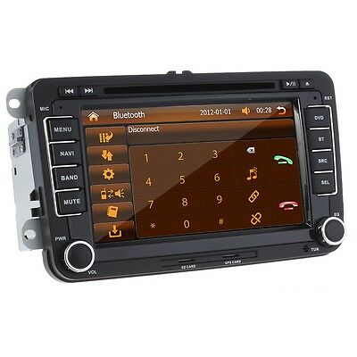 """Volkswagen 7"""" In Dash Car DVD Player GPS NAV Bluetooth Touch Screen Stereo + Map"""