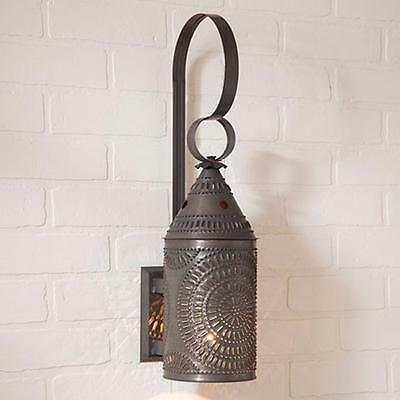 Country new handcrafted punched tin LANTERN wall sconce light / FREE SHIP